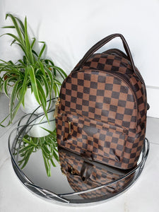 Ariah Checked Back Pack - Brown