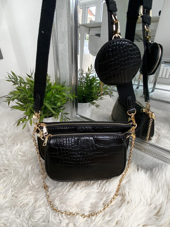 Loren Multi Accessories Pochette Bag - Black Croc Leather