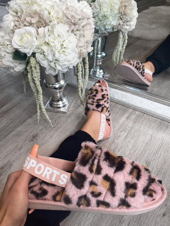 Mabelline Fluffy Elasticated Strap Slippers - Leopard Pink