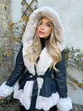Lillie Belted Fur Hooded Coat - Black/Cream