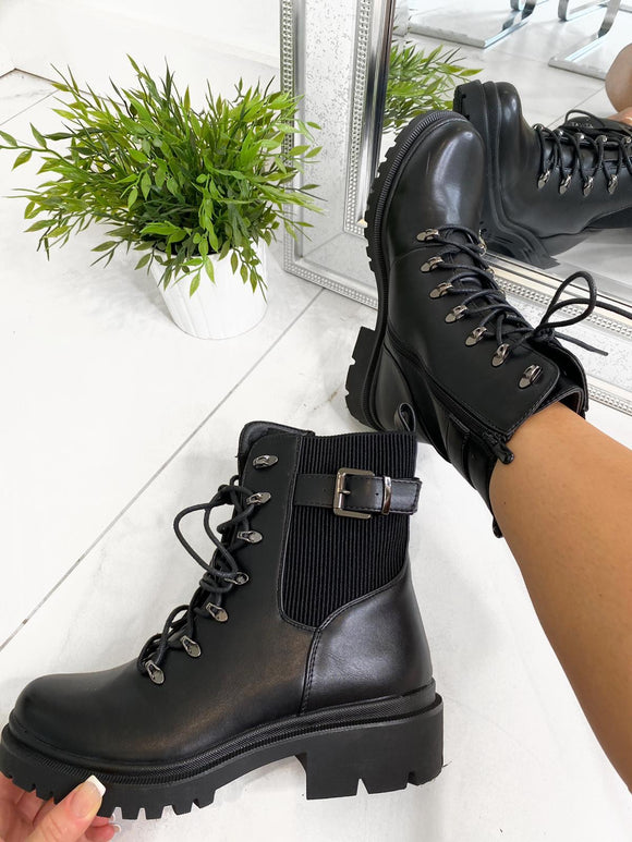 Lissy Lace Up Ankle Boots - Black Leather