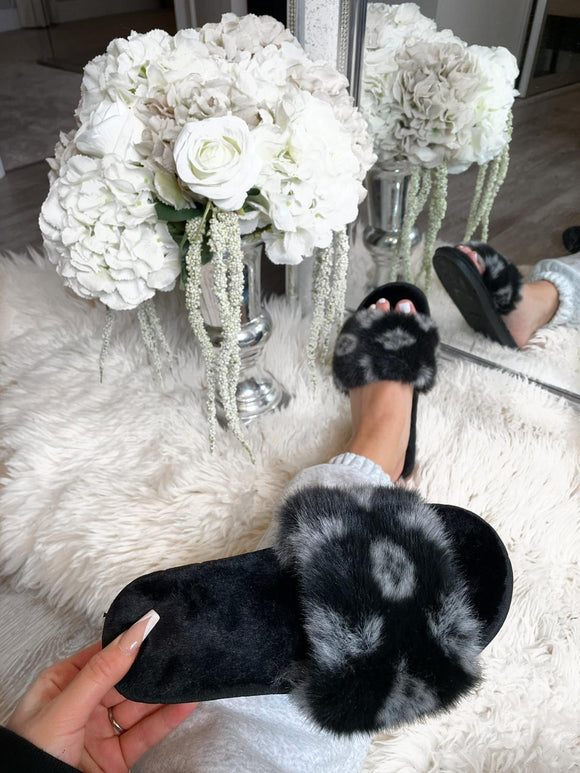 Louie Fluffy Slippers - Black