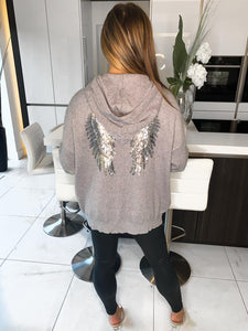 Stace Angel Wings Hoodie - Grey