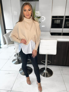 Mahalia Crossfront Shirt Jumper - Cream