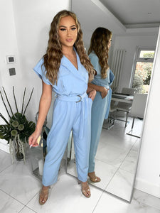Alice Belted Jumpsuit - Baby Blue