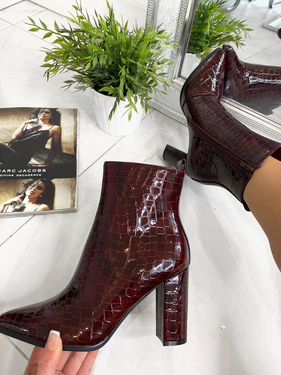 Claudia Chunky Pointed Heel Ankle Boot - Wine Croc Patent