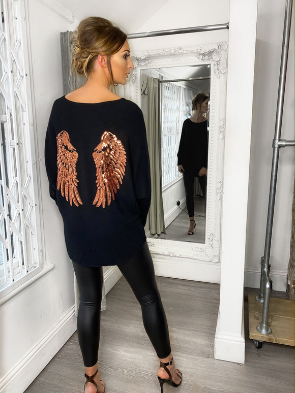 Willow Angel Wings Jumper - Black
