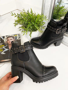 Kelly Croc Buckle Ankle Boots - Black Leather