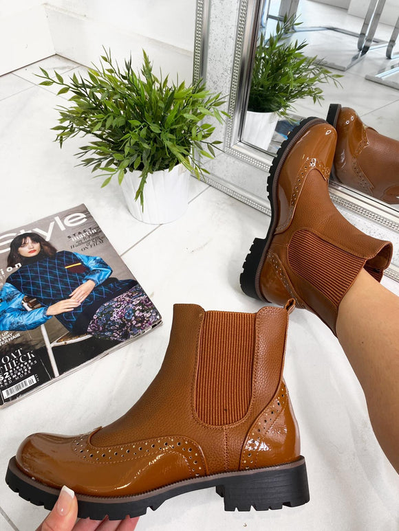 Kenzie Brogue Ankle Boots - Camel