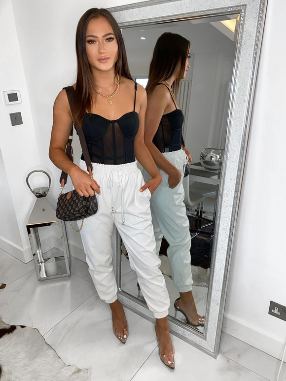 Harley Leather Look Joggers - White