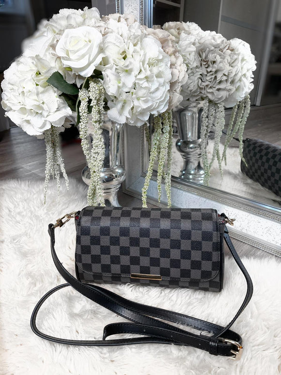 Joanna Checked Clutch Bag - Black