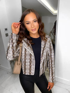 Carla Snake Print Faux Leather Biker Jacket - Brown