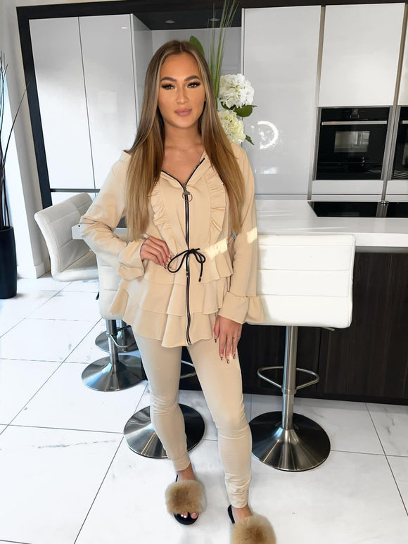 Kayla Frill Full Zip Loungewear - Cream