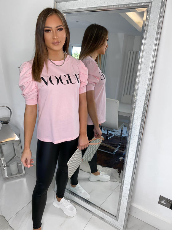 VOGUE Puff Sleeve Tee - Pink