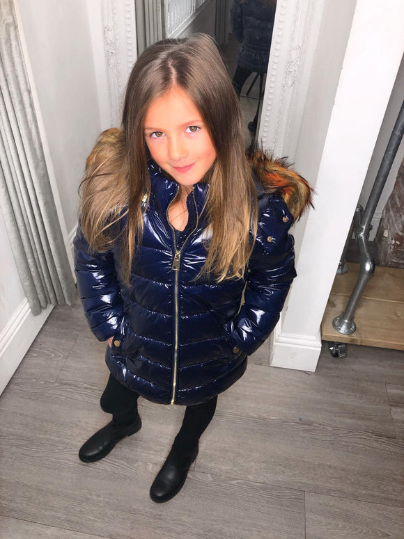 Sophie Metallic Kids Coat - Navy
