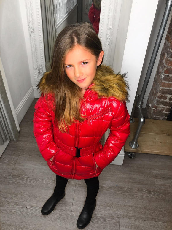 Abbie Belted Metallic Kids Coat - Red
