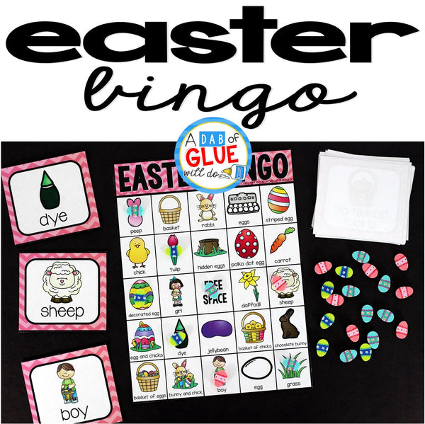 Play Bingo with your elementary age students with these fun Bingo Sheets for Easter! Perfect for large groups in your classroom or small review groups. Add this to your Easter party with 30 unique themed Bingo boards with your students! Teaching cards are also included in this fun game for young children! Black and white options available to save y