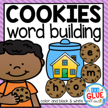 Cookie Word Building Activity Bundle - CVC, CVCC, CVCE, and CCVC Words