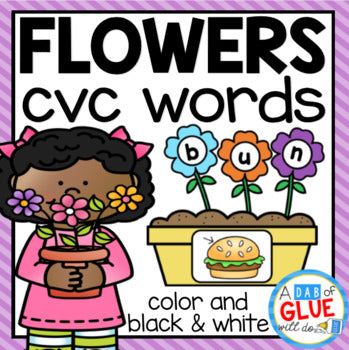 Flowers CVC Word Building Activity