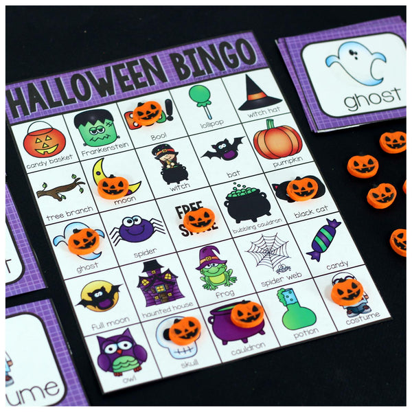 Play Bingo with your elementary age students for a fun Halloween themed game! Perfect for large groups in your classroom or small review groups. Add this to your Halloween party with 30 unique Halloween Bingo boards with your students! Teaching cards are also included in this fun game for young children! Black and white options available to save yo