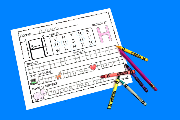 Letter H Activities: Uppercase Letter Craft and Alphabet Worksheet