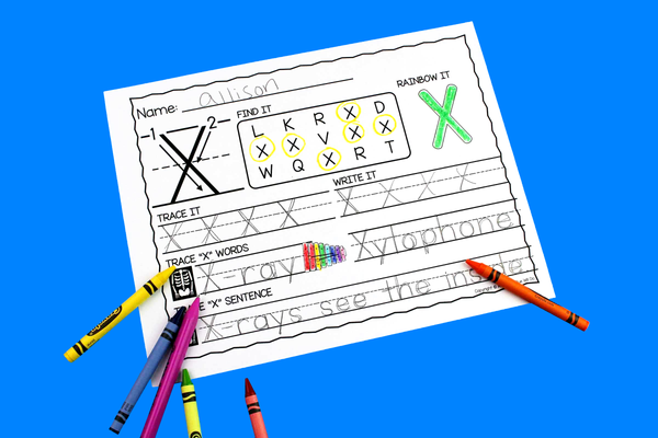 Letter X Activities: Uppercase Letter Craft and Alphabet Worksheet