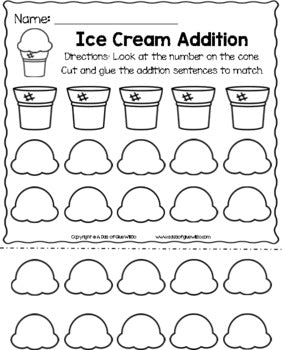 Ice Cream Editable Addition and Subtraction Activity