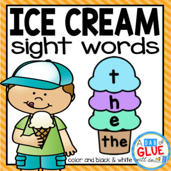 Ice Cream Editable Sight Word Activity