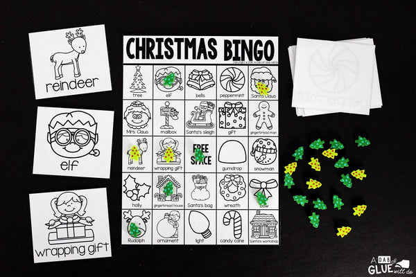 Play Bingo with your elementary age students for a fun Christmas themed game! Perfect for large groups in your classroom or small review groups. Add this to your Christmas or Holiday party with 30 unique Christmas Bingo boards with your students! Teaching cards are also included in this fun game for young children! Black and white options available