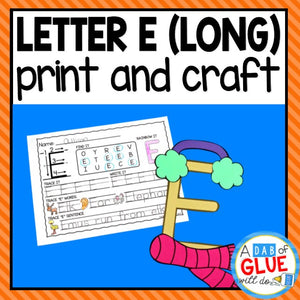 Long Vowel Letter E Activities: Uppercase Letter Craft and Alphabet Worksheet