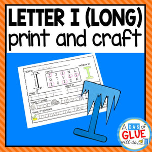 Long Vowel Letter I Activities: Uppercase Letter Craft and Alphabet Worksheet