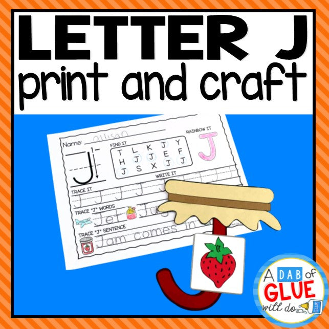 Letter J Activities: Uppercase Letter Craft and Alphabet Worksheet