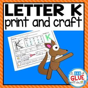 Letter K Activities: Uppercase Letter Craft and Alphabet Worksheet