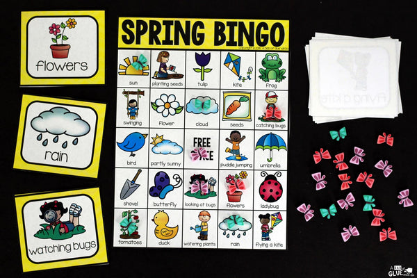 Play Bingo with your elementary age students for a fun spring themed game! Perfect for large groups in your classroom or small review groups. Add this to your spring lesson plans or spring class party with 30 unique spring Bingo boards! Teaching cards are also included in this fun game for young children! Black and white options available to save y