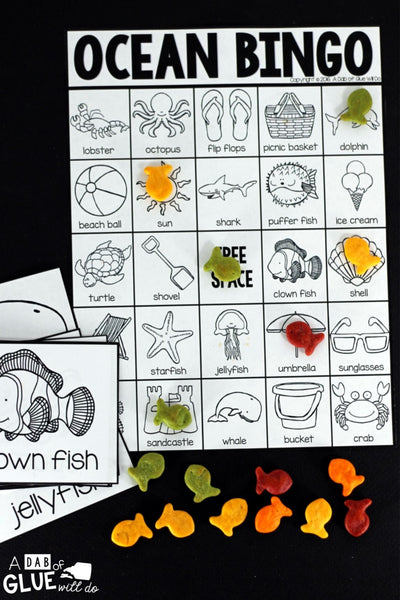 Ocean Bingo is a fun way to review learning about the ocean. This is also perfect for end of year/summer celebrations. This game can be played either whole group or in small groups. Each BINGO board is unique.
