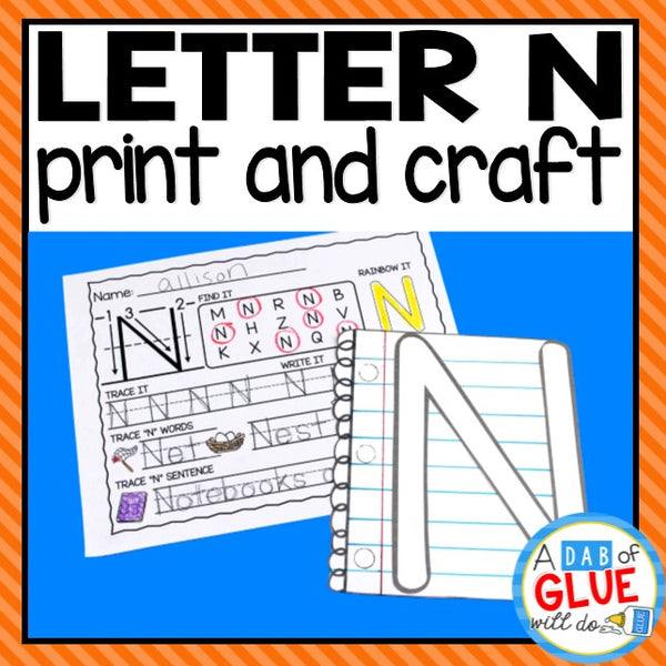 Letter N Activities: Uppercase Letter Craft and Alphabet Worksheet