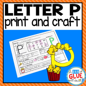 Letter P Activities: Uppercase Letter Craft and Alphabet Worksheet