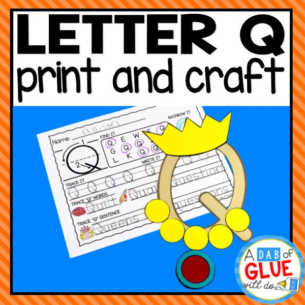 Letter Q Activities: Uppercase Letter Craft and Alphabet Worksheet