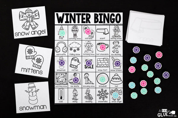 Play Bingo with your elementary age students for a fun winter themed game! Perfect for large groups in your classroom or small review groups. Add this to your winter lesson plans or winter class party with 30 unique winter Bingo boards! Teaching cards are also included in this fun game for young children! Black and white options available to save y