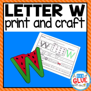 Letter W Activities: Uppercase Letter Craft and Alphabet Worksheet