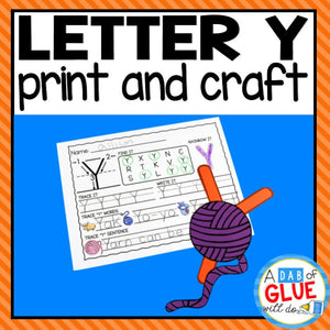 Letter Y Activities: Uppercase Letter Craft and Alphabet Worksheet