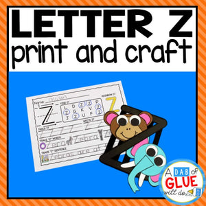 Letter Z Activities: Uppercase Letter Craft and Alphabet Worksheet