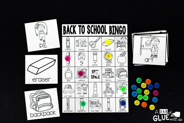 Play Bingo with your elementary age students for a fun back to school themed game! Perfect for large groups in your classroom or small review groups. Add this to your beginning of the year lesson plans with 30 unique Back to School Bingo boards! Teaching cards are also included in this fun game for young children! Black and white options available
