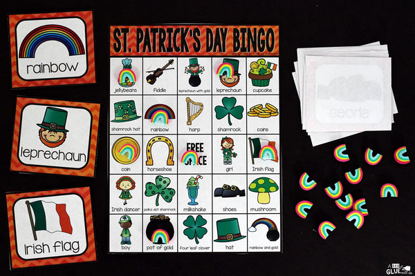 Play Bingo with your elementary age students for a fun St. Patrick's Day themed game! Bingo Sheets for St. Patrick's Day is perfect for large groups in your classroom or small review groups. Add this to your St. Patrick's Day party with 30 unique themed Bingo boards with your students! Teaching cards are also included in this fun game for young chi