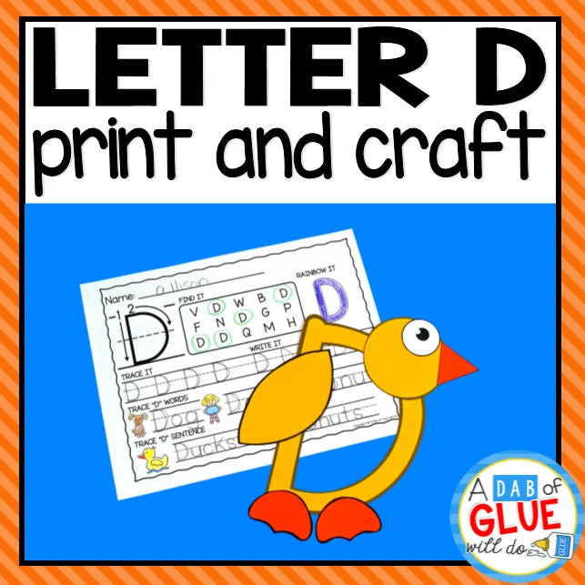 Letter D Activities: Uppercase Letter Craft and Alphabet Worksheet