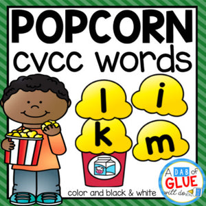 Popcorn CVCC Word Building Activity