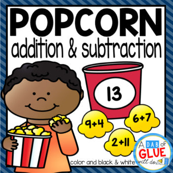 Popcorn Editable Addition and Subtraction Activity