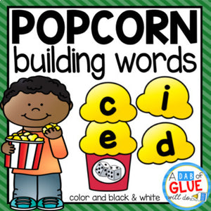 Popcorn Word Building Activity Bundle - CVC, CVCC, CVCE, and CCVC Words
