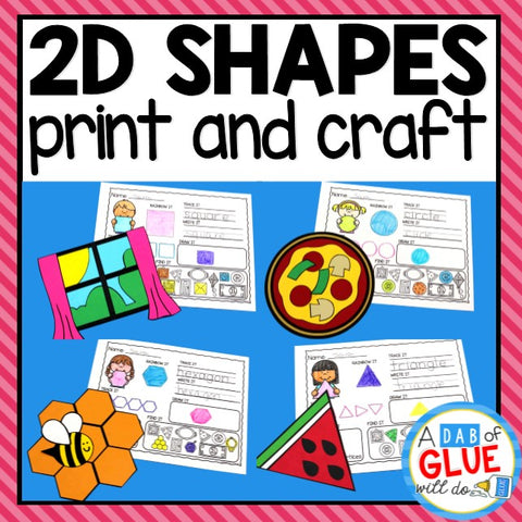 2D Shapes Worksheets and Shapes Craft Bundle
