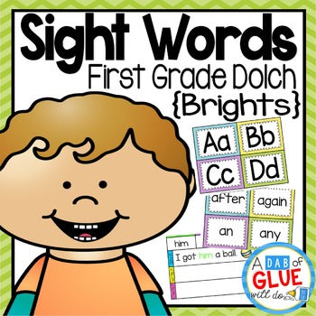 Sight Word Activities, Centers, and Word Wall: Dolch First Grade {Brights}